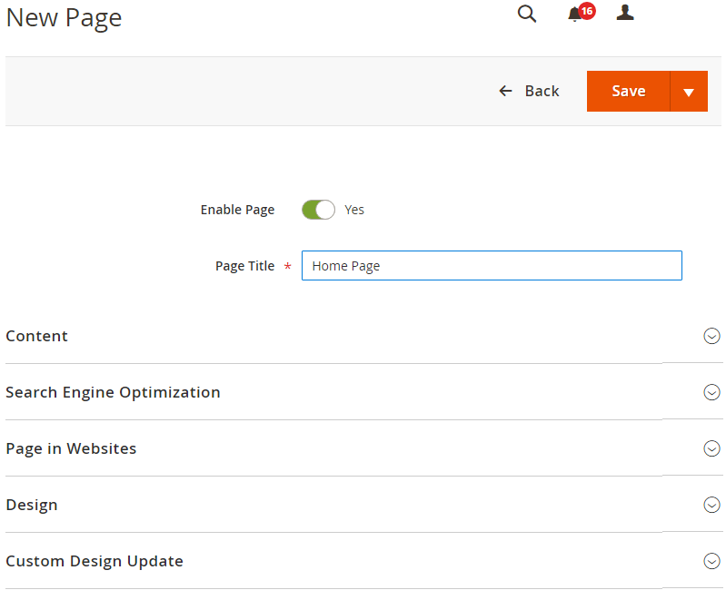 Add new CMS Page