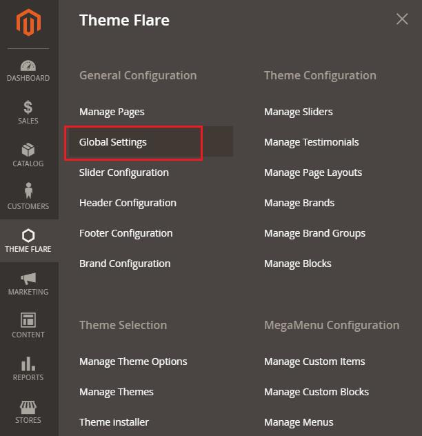 Theme FLARE ->Global Settings