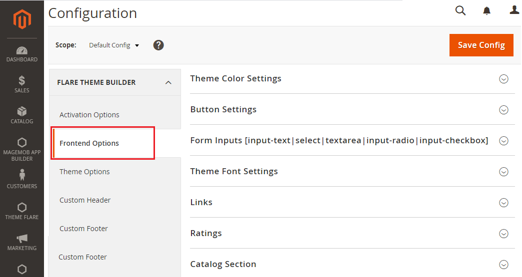 Global Settings->Frontend Options