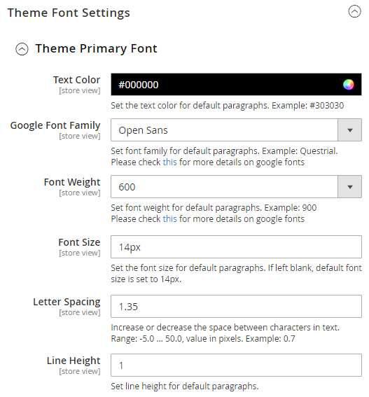 Theme Font Settings & H1 to H6