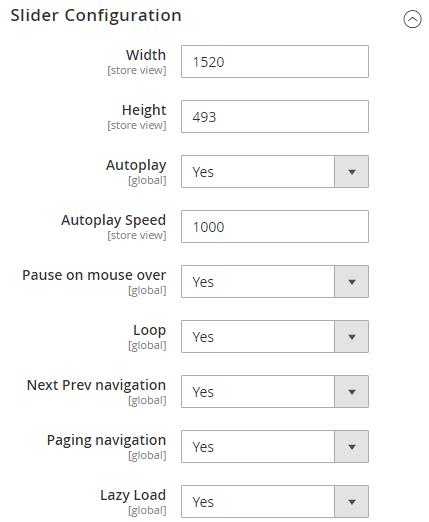 Slider Configuration