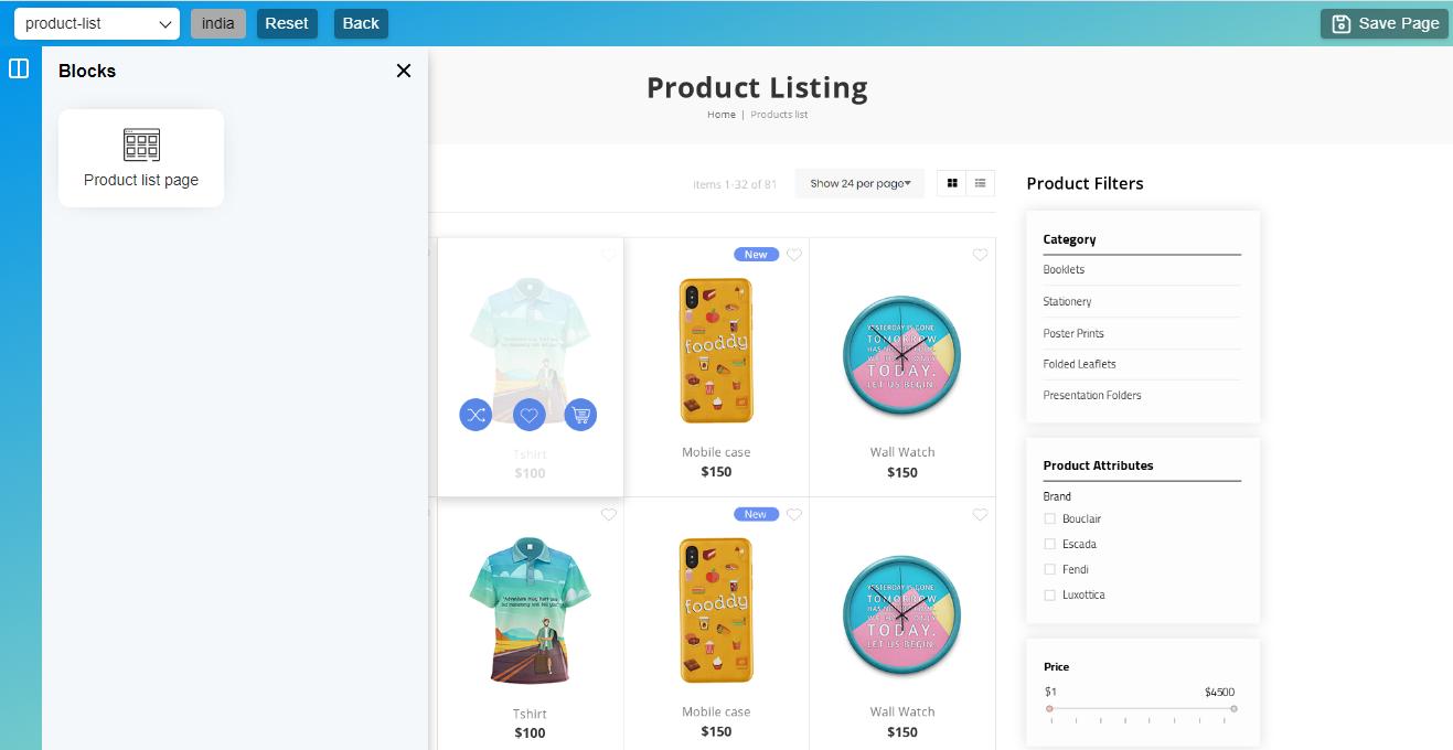 Product Listing block