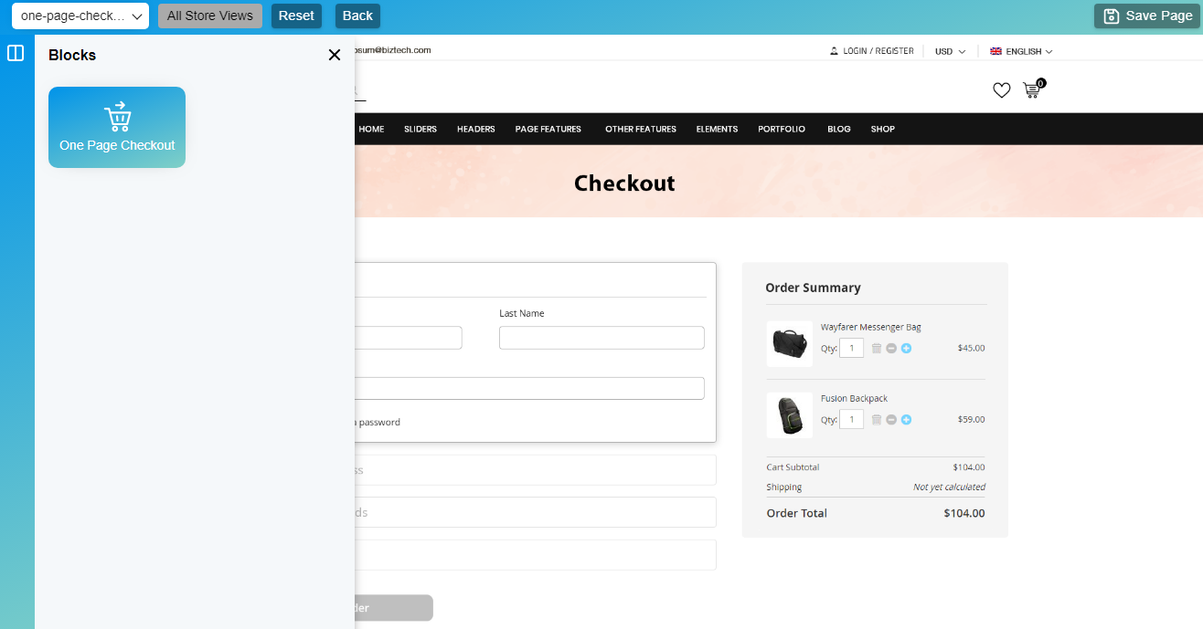 One Page Checkout block