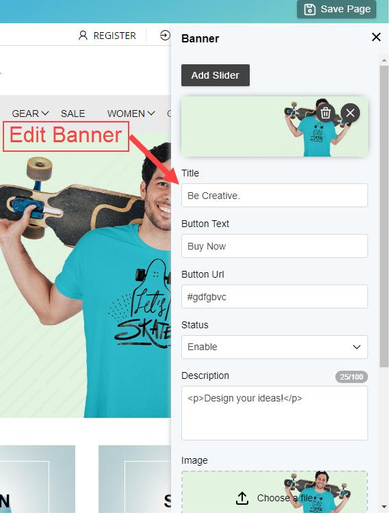 Edit Banner details