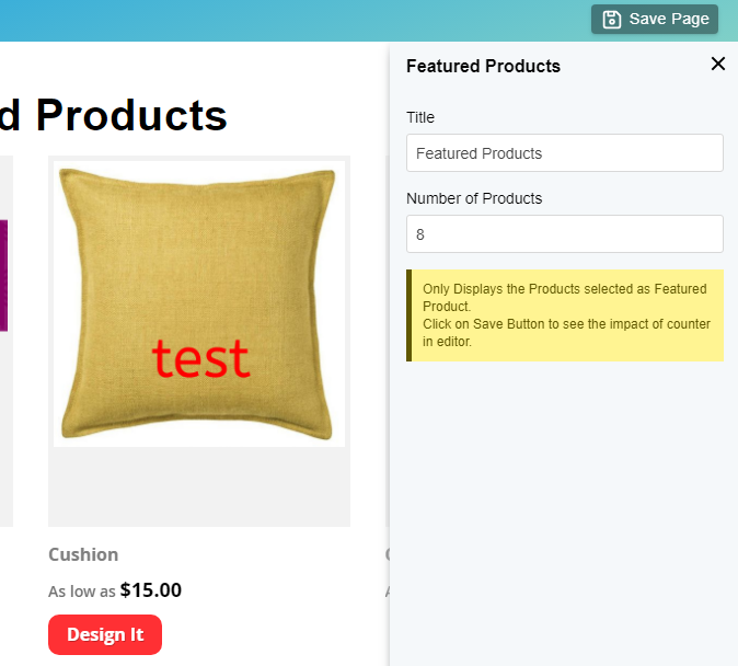 Edit Featured Products block