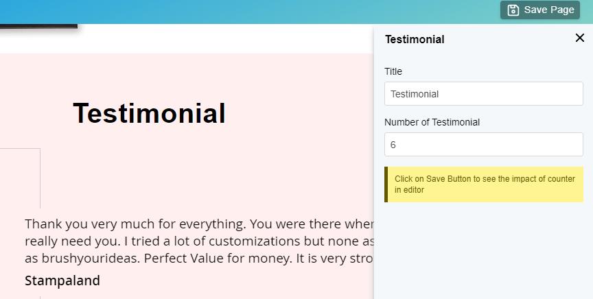 Edit Testimonial block details