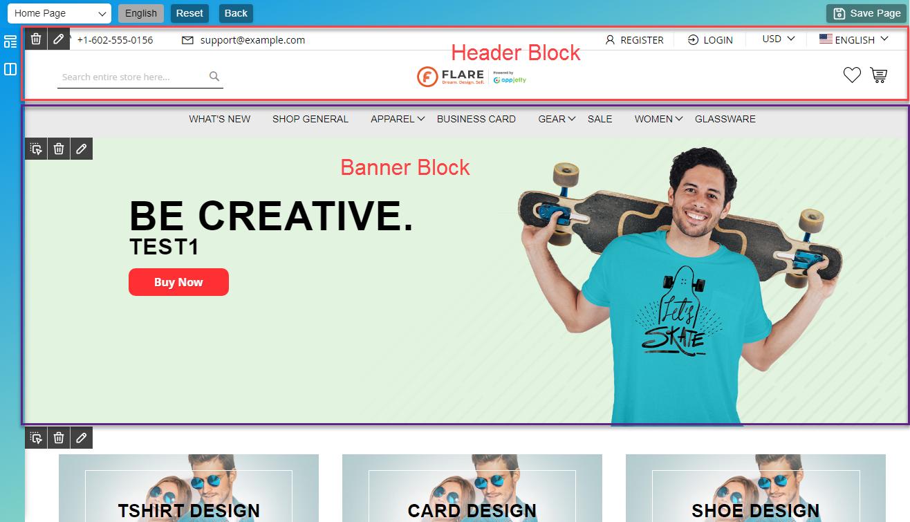 Blocks on Web Page