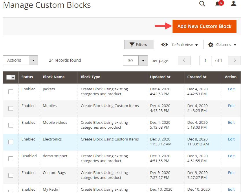 Add New Custom Block