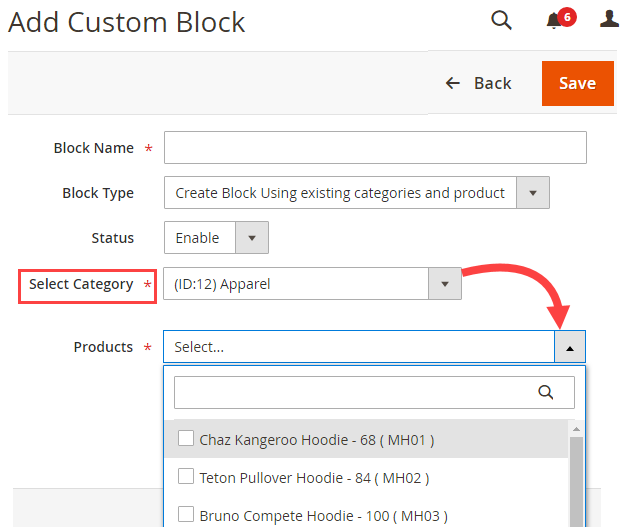 Select Existing Category & its Products