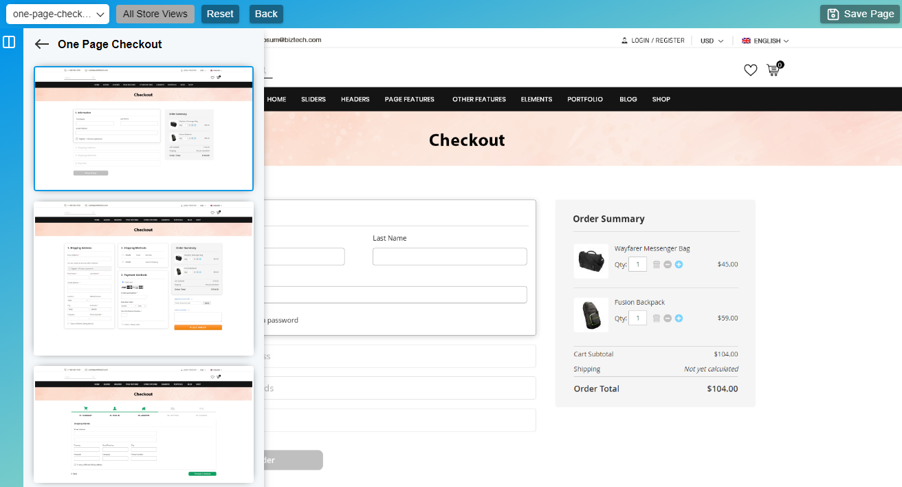 One Page Checkout layouts