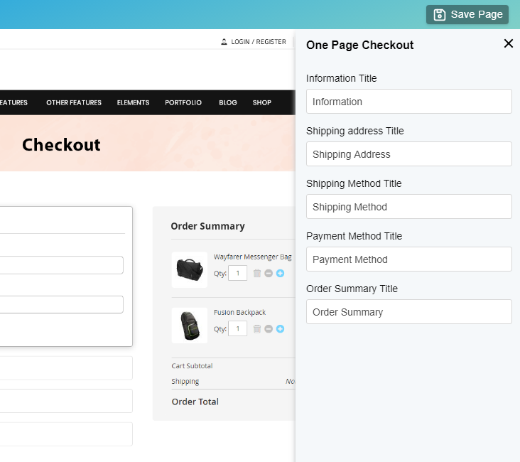 Edit One Page Checkout details