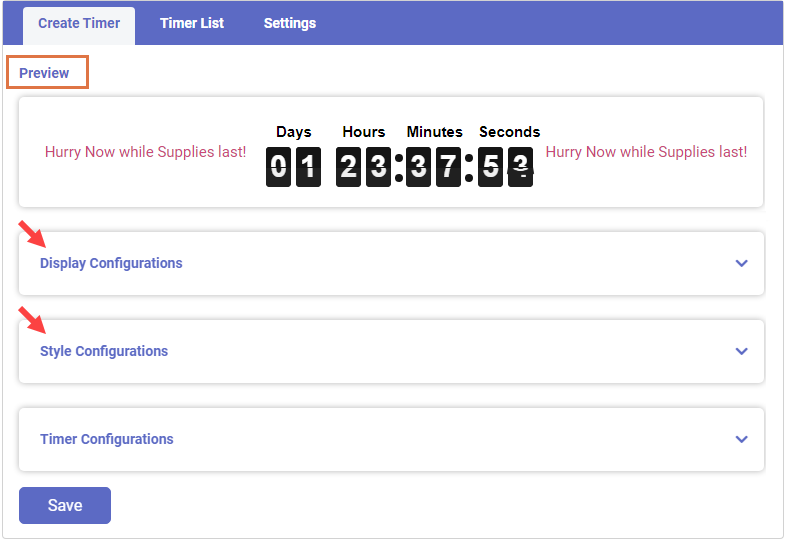 Real-Time Preview of Timer