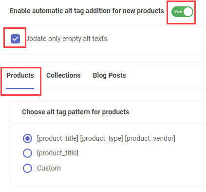 Products- Choose Alt Tag pattern