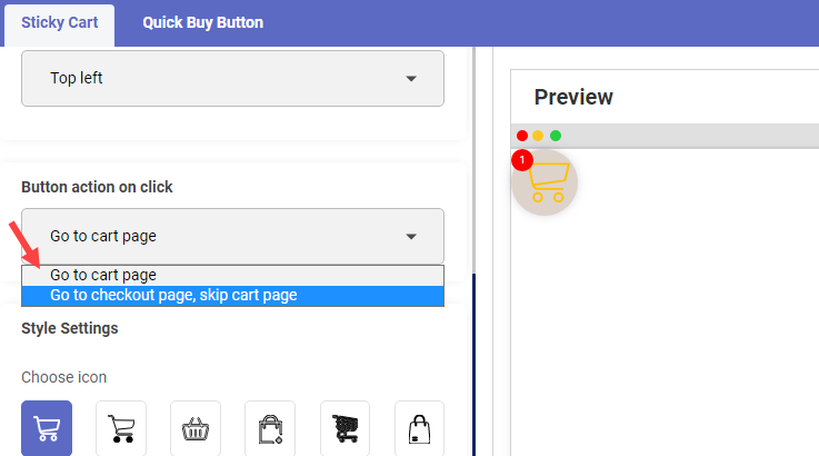 4.Select Action on Click