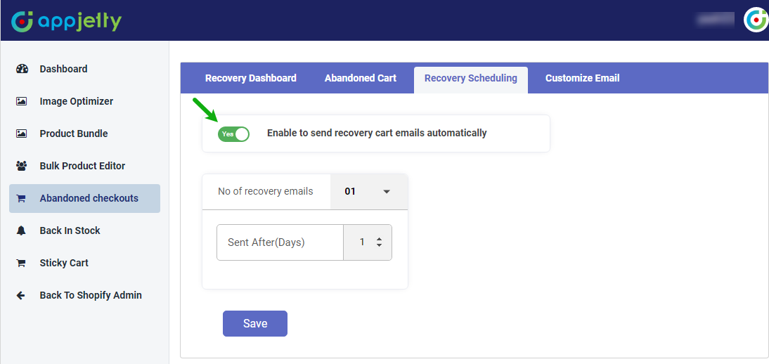 Enable 'Auto Recovery Schedule'
