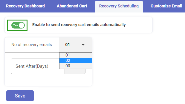 No. of Recovery Emails