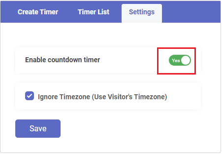 Settings- Enable Timer Widget