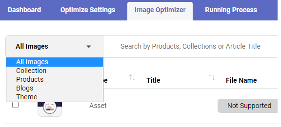 Filter Image Type & Search