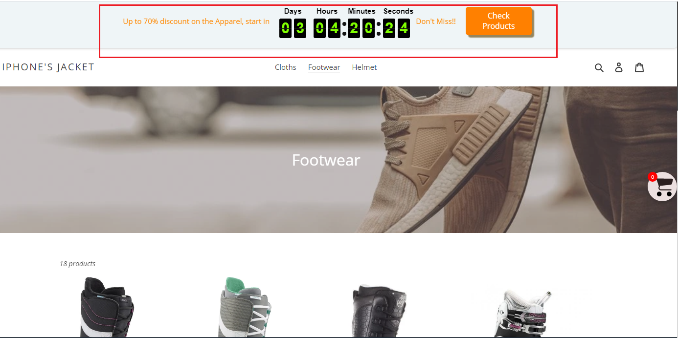 Store View- Timer display