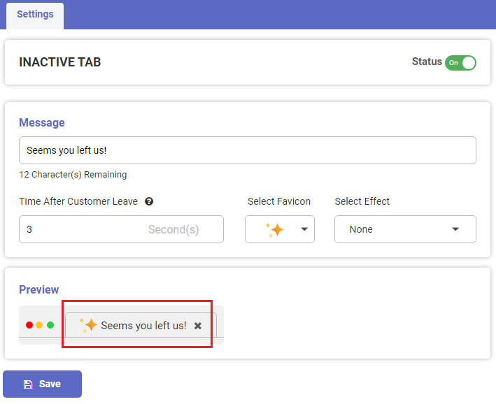 Shopify App display notification on inactive tab