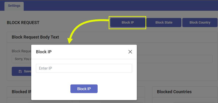 Block Request Alert Message