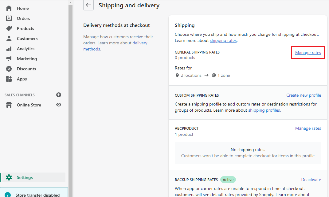 Shopify Store app manage shipping rates to display message using announcement banner or bar
