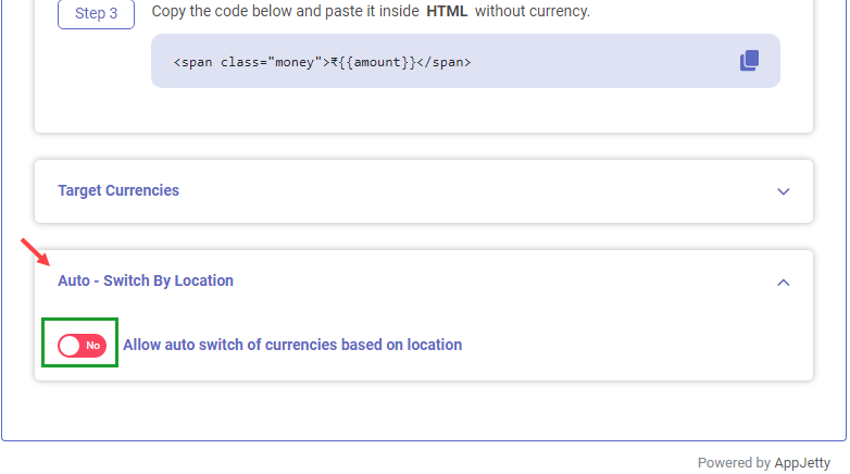 Shopify app to switch currency conversion based on GeoLocation