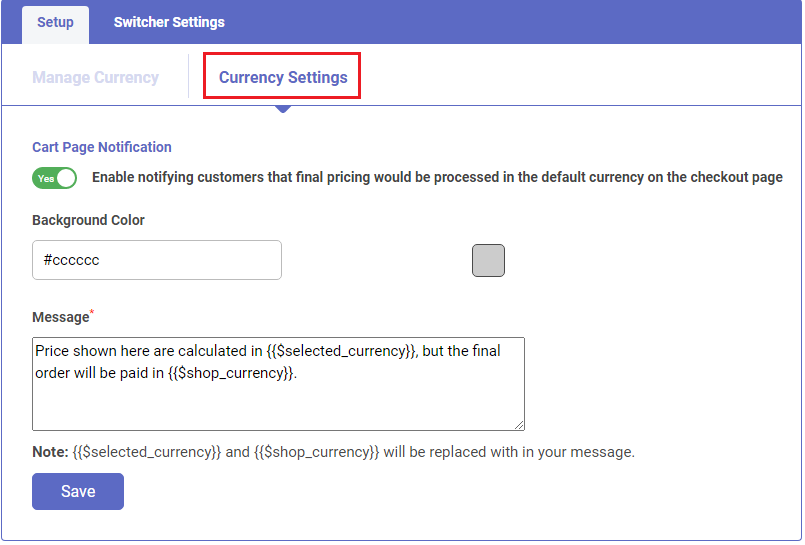 Shopify app Currency converter and switcher notify customers about default currency of Shopify Store