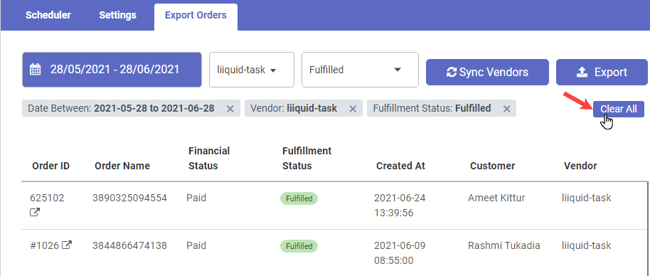 Shopify app to manage the orders and export by scheduler