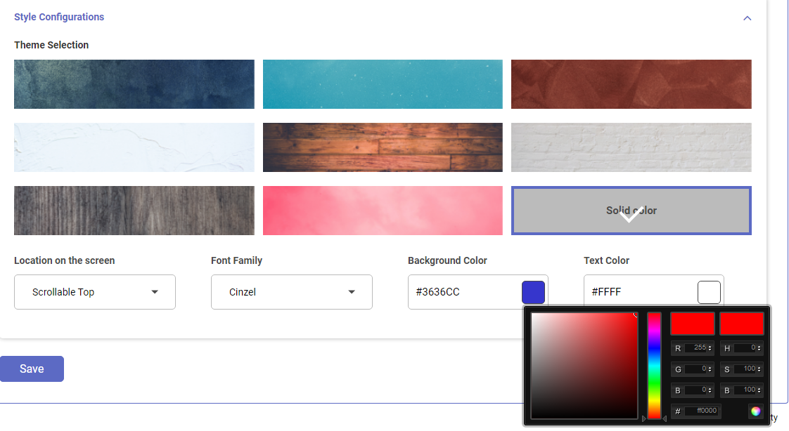 Shopify Store app style to display message using announcement banner or bar