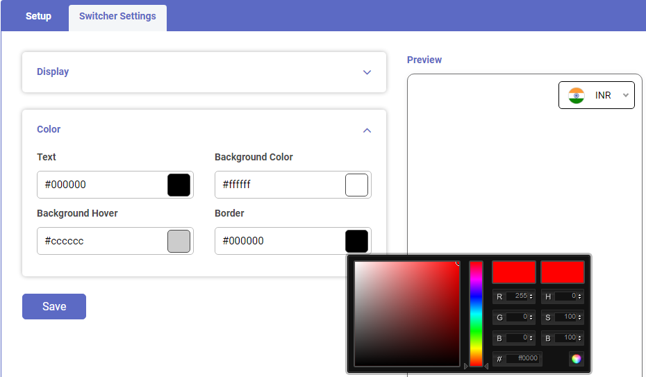 Shopify app Currency switcher and converter customize switcher color