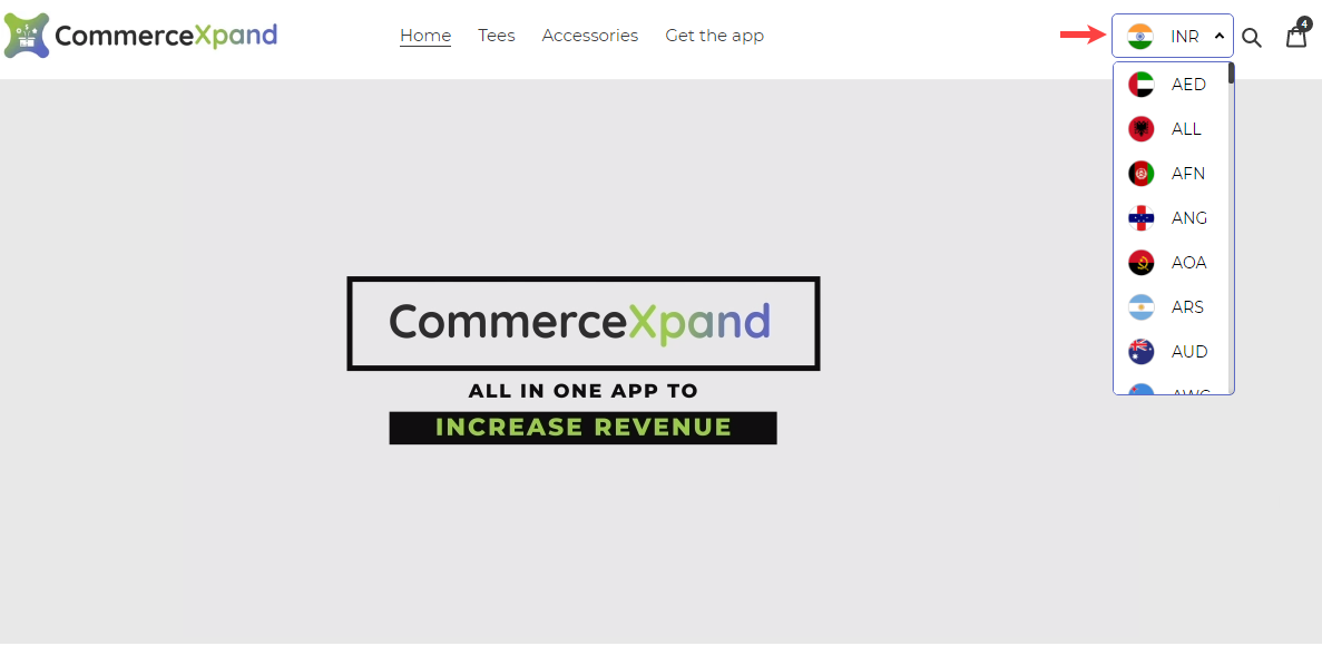 Shopify app Currency Switcher and converter