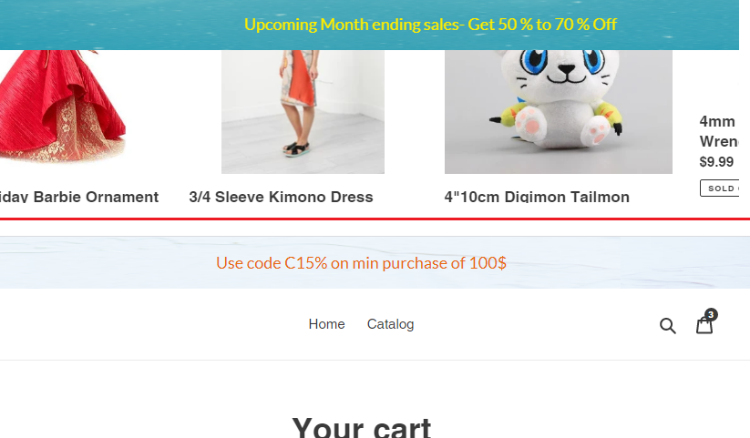 Shopify Store app display message using announcement banner or bar