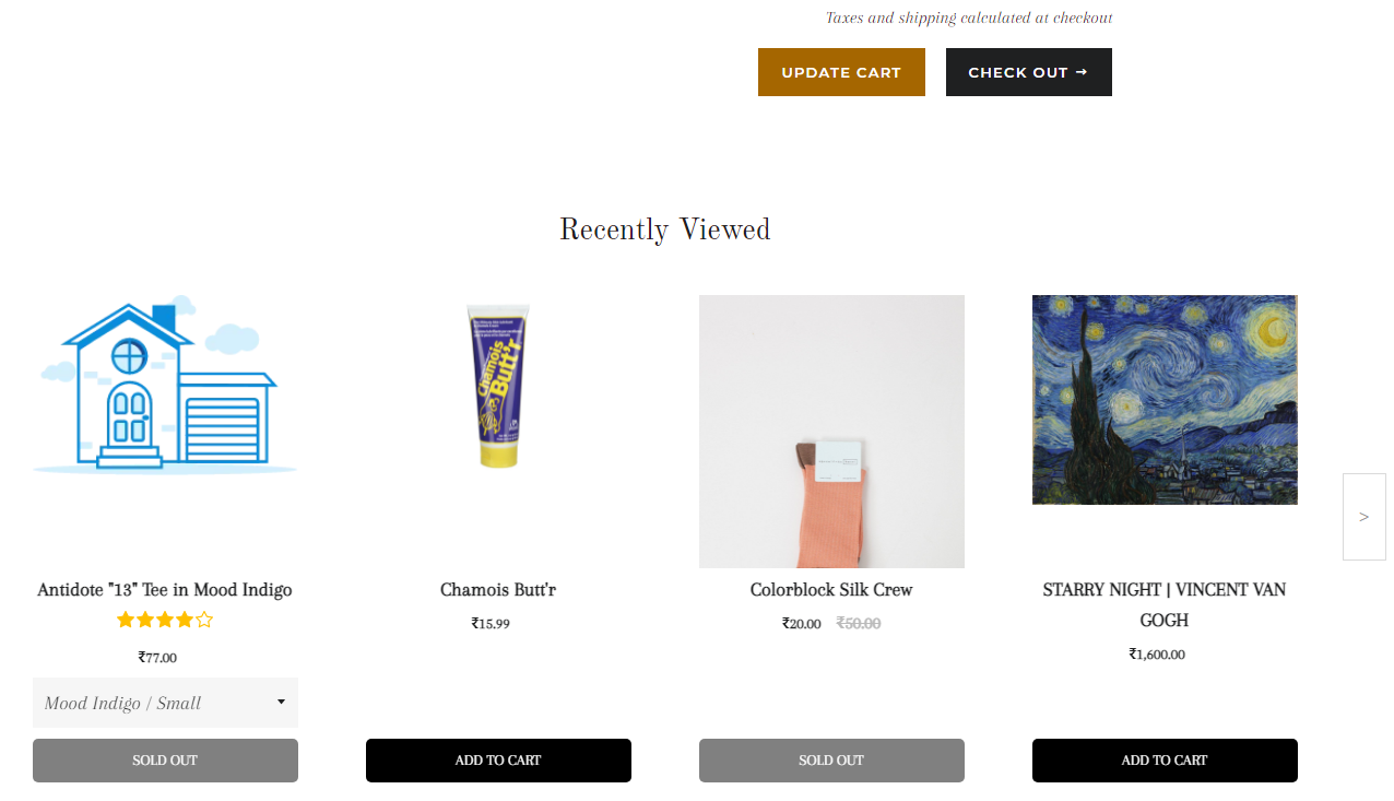 Shopify app to enable recent visited products